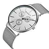 XLORDX Herren Edelstahl Mesh Armband Uhren Chronograph Datum Kalender Einfach Design Analog Quarz Armbanduhr Silber Weiß