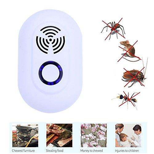 Royalo Elektronische Ultraschallschädlings-Repeller-Ratten-Mäuseabwehrmittel-Antimoskito-Repeller-Mörder-Nagetier-Plage-Wanze Ablehnung-Mole-Mäuse für Wanzen, Mäuse, Ratte, Nagetiere, Schabe, Fliegen, Hinterwellen, Ameisen, Spinnen, Flöhe (Natürliche Floh-killer)