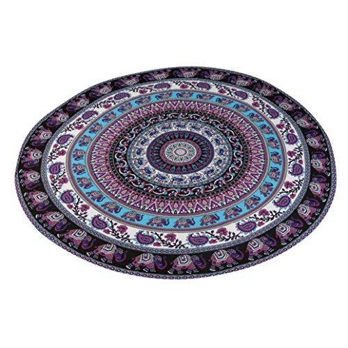 BakeLIN Strandtuch Sommer Mandala Chiffon Runde Strandtücher Yoga Matte Wandbehang Decor Strandhandtuch 150cm (150cm, Violett)