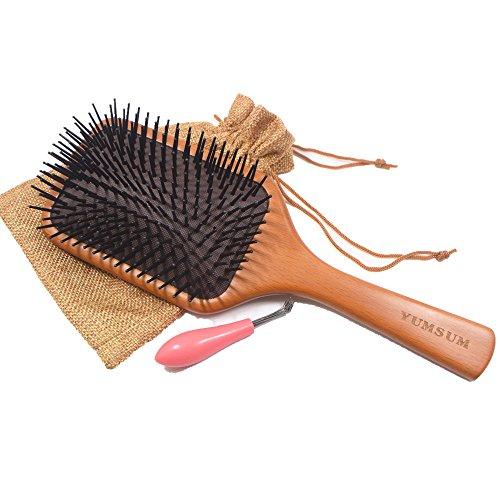 YUMSUM - Cepillo madera cuadrado grande masaje pelo