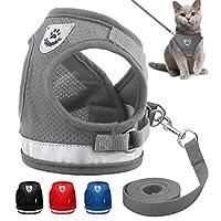 jsadfojas Dog Belt Adjustable Strong Dog Lead Comfortable Cat Puppy Comfortable Harnesses Soft Leash Mesh Breathe for Medium Large Sized Pets Training Walking Car Traveling (Grey, S)