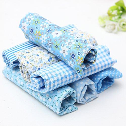 king-do-way-7-stueck-baumwollstoff-stoffpakete-patchwork-stoffe-baumwolle-tuch-stoffreste-paket-blau