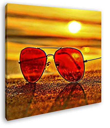 deyoli Blick durch die Sonnenbrille Format: 40x40 Effekt: Zeichnung als Leinwandbild, Motiv fertig gerahmt auf Echtholzrahmen, Hochwertiger Digitaldruck mit Rahmen, Kein Poster oder Plakat