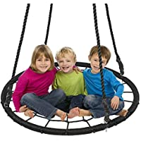 "Display4top Outdoor Swing, Giant 40"" Round Web Tree Net Swing Swing Set Anchors Hanging Ropes 400 lbs Capacity, Adjustable length hanging ropes Easy Install"