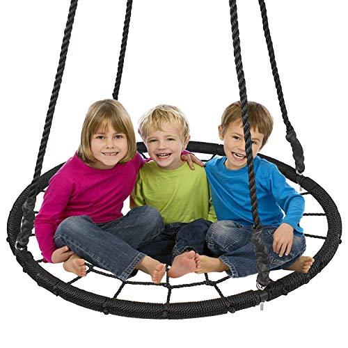 Display4top Nid Rond Enfants balançoire Assiettes Ourdoor (Ø 100 cm) (Noir)