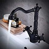 Willsego Wasserhahn Amerikanischen Schwarz Antike Tisch Becken Wasserhahn Waschbecken Volle Kaltmischventil Wasserhahn Kupfer Bad Becken B (Farbe : B, Größe : -)