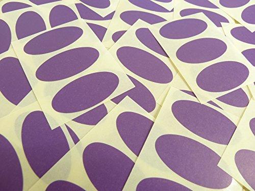 40x20mm Púrpura Oscuro Violeta Forma Ovalada Etiquetas, 75 auta-Adhesivo Código De Color Adhesivos, adhesivo óvalos para Manualidades y Decoración