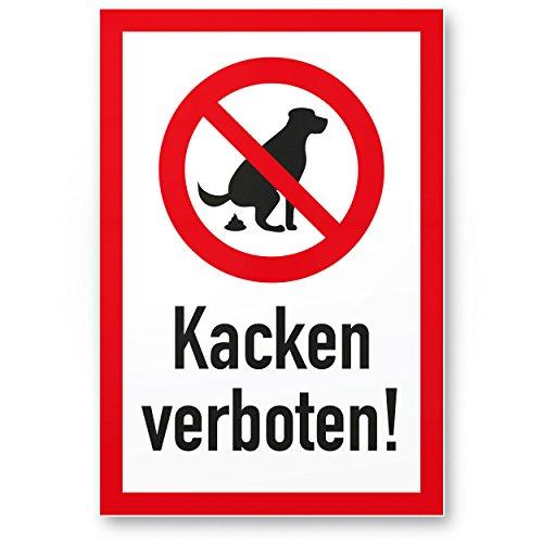 Hundeschild Kacken Verboten - Wiese, Kunststoff Schild Hunde kacken verboten - Verbotsschild/Hundeverbotsschild, Verbot Hundeklo/Hundekot / Hundehaufen