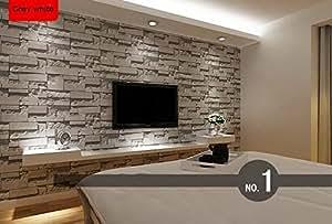 einfach wohnzimmer mit steintapete - modernes gestapelt ziegel 3d stein tapete rolle grau stein