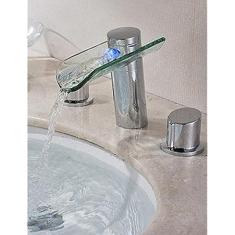 Due maniglie cromate finitura colore Modifica della cascata del LED diffusa lavandino rubinetto del