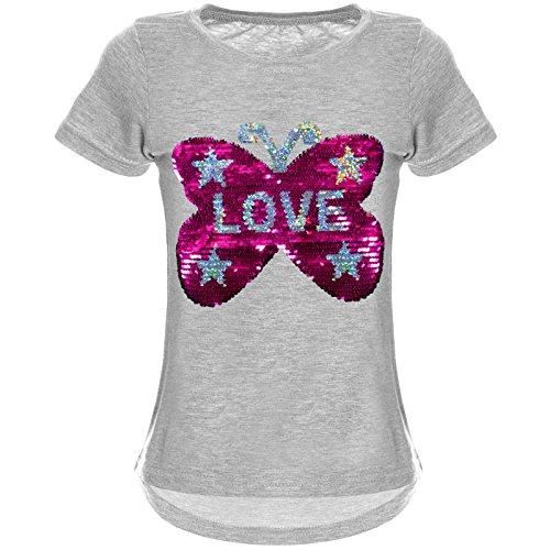 emoji shirt mit wendepailletten BEZLIT Mädchen Wende-Pailletten T-Shirt Tollem Schmetterling Motiv 22032 Grau Größe 140