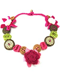 Mimosastyle Crochet Flower Button Necklace Pink b88dFeqaO