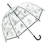 SMATI Transparenter Automatik-Stockschirm - Regenschirm Damen Bonjour Paris