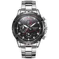 WENY Reloj de Pulsera de los Hombres Militar, Moda, Cuarzo Punk Luminosa Correa de Acero Inoxidable Accesorios Casual Cool (Color : Black)