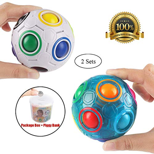 PROACC 2pcs Bola del Arco Iris Magic Ball Toy Puzzle Magic Rainbow Ball para Juguetes educativos para niños Adolescentes Adultos Stress Reliever Malloom Pop Luminous Stress Reliever Azul y Blanco