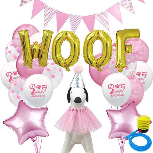 Alfie Pet - Presley Geburtstagsmütze, Halsband, Luftballons und Fahne für Haustiere, Farbe: Pink -