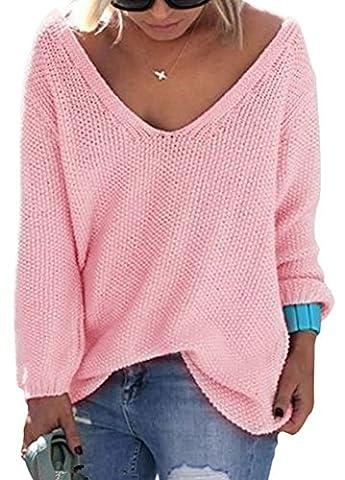 Minetom Damen Herbst Winter Pullover Langarm Strickpullover mit V-Ausschnitt Pulli Lose Strickjacke Knitwear Sweatshirt Jumper Tops Pink DE 38