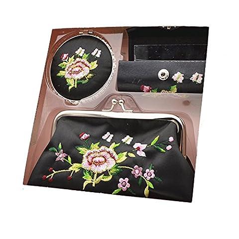 LL-COEUR Mignon 3PCS Miroir + Etui pour Rouge à Lèvres + Porte-monnaie Fermoir Sac à Main Yunjin Broderie Pivoine pour Fille Femme (noir)