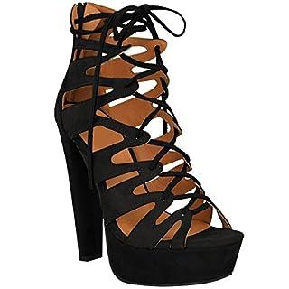 Fashion Thirsty New Womens Damen High Heels Plattform Gladiator Sandalen Schnür Stiefel Schuh Größe - Schwarz Kunstwildleder, 37