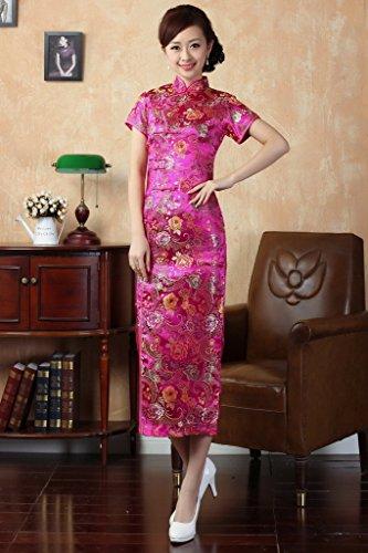 Smile YKK Femme Robe Longue Cheongsam Classique Soie Voilet