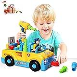 ACTRINIC Baby Spielzeug multifunktionale Konstruktion auseinander nehmen Spielzeug,Werkzeug Lastwagen für Kinder Spielzeug 3+mit Bohrmaschine und Elektrowerkzeuge für Montage,Musik /Beleuchtung