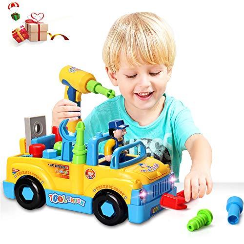 ACTRINIC Baby Spielzeug multifunktionale Konstruktion auseinander nehmen Spielzeug,Werkzeug Lastwagen für Kinder Spielzeug 3+mit Bohrmaschine und Elektrowerkzeuge für Montage,Musik ()