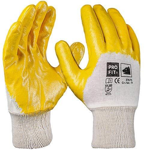 PRO FIT 12 Paar - Basic Nitril-Handschuh, gelb, 3/4 beschichtet, Strickbund 10 -