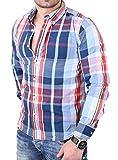 Reslad Herren Hemd Street Wear Karo-Muster Langarmhemd RS-7688 Blau-Rot M