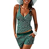 mioim 2Tlg Damen Tankini Set mit Shorts Push up Tank Top Bikini Oberteil Retro Punkte Bikinihose Badeanzug Swimwear Zweiteilig Beachwear Swimsuit Grün XXL