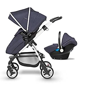Silver Cross Wayfarer Travel System, Midnight blue Venicci Also includes: Changing bag, Apron, Rain cover, Mosquito net, Cup holder Carrycot: L 102cm W 61cm H 112 cm Age suitability: From birth to 6 months Seat unit: L 95cm W 61cm H 112cm Age suitability: From 7 to 36 months 5