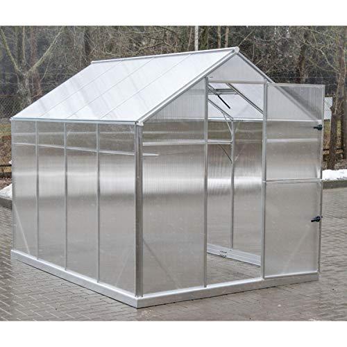 Gampre Aluminium Gewächshaus-Set, Gartenhaus, Pflanzenhaus Sanus L7 Silber // 220x290x215 cm // Frühbeet, Aufzucht und Treibhaus