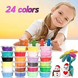 Arcilla Seca al Aire (24 Colores), Migimi Air Dry Clay Arcilla de Modelado Ultra Ligero Creative arcilla y masa de modelado no tóxico, arte creativo DIY Crafts, mejores regalos para los niños