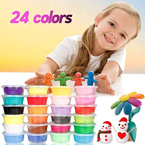 Hüpfknete für Kinder, Migimi Kinderknete Knete Flummimasse Springknete für Kinder DIY Handgemachtes Lernen, Mitgebsel für Kindergebrustag für Jungen & Mädchen - 24 Farben