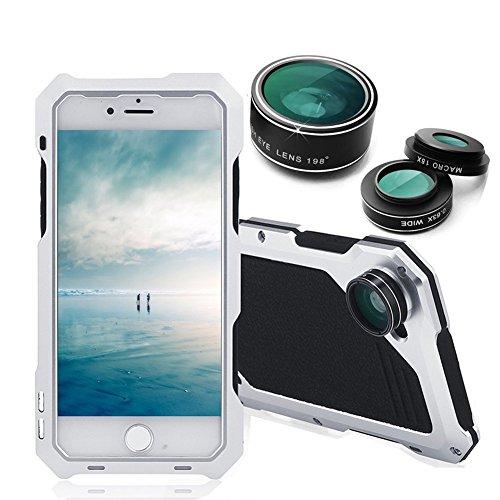 Arblove iPhone 6/6s Kit Custodia Impermeabile Con 3 Lenti Cellulari,Ultra Sottile e leggero IP 54 360 Grado Alluminio Waterproof e Full Sealed Antiurto Antipolvere Cover Case per iPhone 6/6s Argento