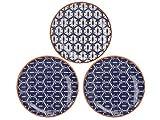 Creative Tops Drift decorados a mano estampada placas laterales, 15cm (Juego de 3), cerámica, azul/blanco, 15x 15x 1,8cm