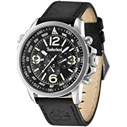 Timberland Campton Men's Quartz Watch with Black Dial Chronograph Display and Black Leather Strap 13910JS/02