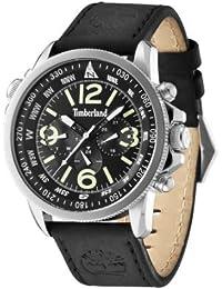 Timberland Campton Herren-Quarzuhr mit schwarzem Zifferblatt Chronograph-Anzeige und schwarzes Lederband 13910JS/02