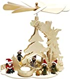 Holz Bastelset 3-D - Pyramide Eichenbaum mit Teelicht - komplett ausgesägt Licht / zum selber basteln - Echt Erzgebirge - hergestellt in Deutschland - Deko für Weihnachten / Kinder + Erwachsene - Komplettset