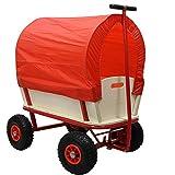 HELO Bollerwagen Handwagen 150 kg Tragkraft mit Regenschutz Dach (Rot) und Luftreifen, Transportwagen mit extrem fester Stahlrohrkonstruktion und verstärkter Ablagefläche - Abmessungen (L/B/H): 94 x 62 x 50 cm - Gestell: Rot / Plane: Rot