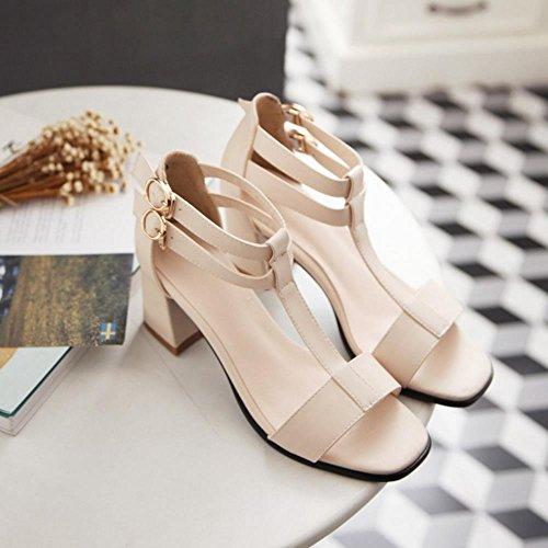 COOLCEPT Femmes Mode T-strap Orteil ouvert Chunky Heel Sandales Beige