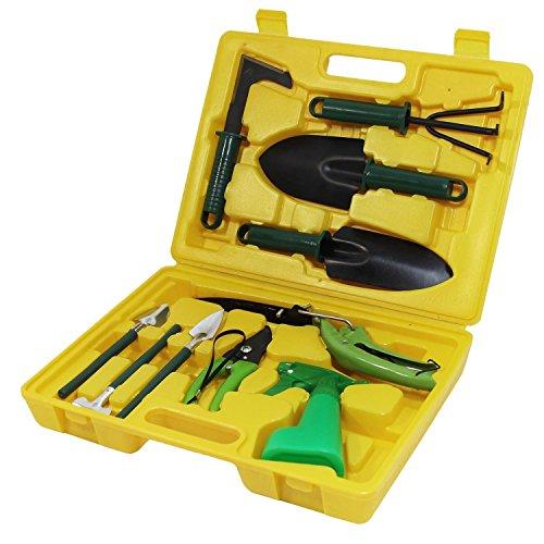 Set Gartenwerkzeug Gartengeräte Werkzeuge inkl. Koffer Harke Schaufel 10-teilig