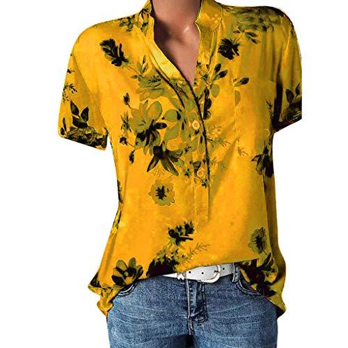 Damen Freizeit Kurzarm V-Ausschnitt Blumen Bluse Elegante Frauen Tunika Oberteile Vintage Hemd T-Shirt Übergröße Sommer Floral Henley Shirt V Ausschnitt Knopfleiste Locker Pullover Tops Sweatshirt -