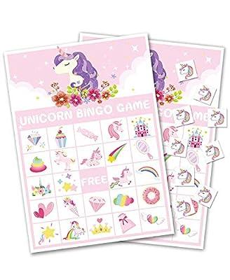 Jeu de bingo licorne - Fournitures de fête - Filles magiques arc-en-ciel pour anniversaire/Saint-Valentin (24 joueurs)