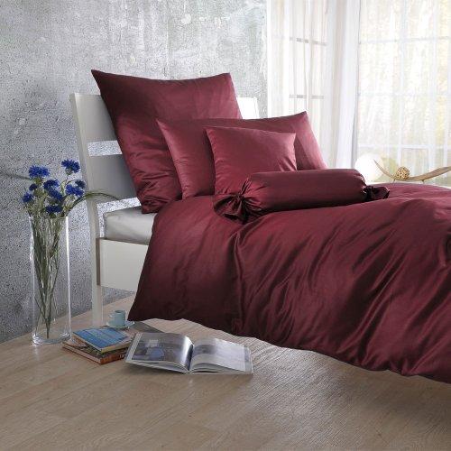 Bettwaren-Shop Uni Mako-Satin Bettwäsche bordeaux Bettbezug einzeln 135x200 cm