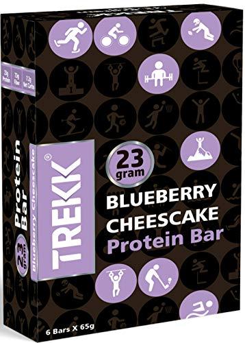 Trekk Blueberry Cheesecake Protein Bar - 65 grams, Pack of 6-High Protein+High Fiber