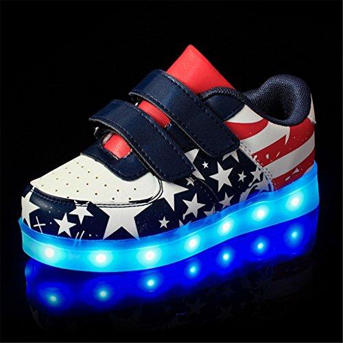 DoGeek LED Schuhe Kinder 7 Farbe USB Auflade Leuchtend Sportschuhe Led Sneaker Turnschuhe (Wählen Sie 1 größere Größe