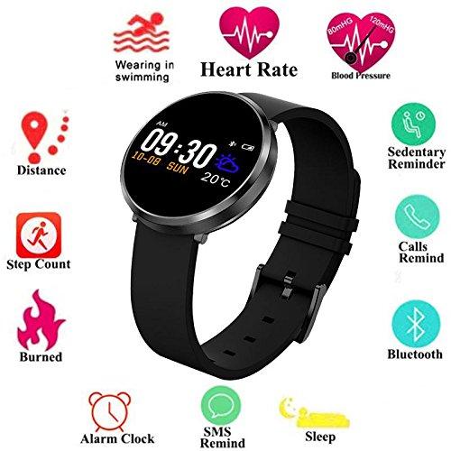 Rotondo schermo a colori fitness tracker, Activity Tracker con frequenza cardiaca pressione sanguigna, IP68 impermeabile contapassi contacalorie sport bracciale per donne