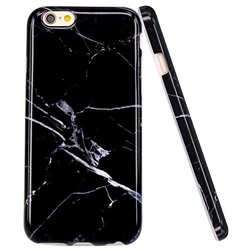 iPhone 6 Plus Hülle, JIAXIUFEN Weiß Marmor Serie Flexible TPU Silikon Schutz Handy Hülle Handytasche HandyHülle Etui Schale Case Cover Tasche Schutzhülle für Apple iPhone 6 Plus/iPhone 6S Plus Schwarz Weiß