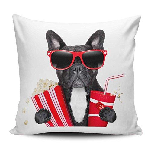 Kissenhülle/Kissenbezug 40x40cm - Motiv: Französische Bulldogge mit Sonnenbrille, Popcorn und Cola auf dem Weg ins Kino | 032