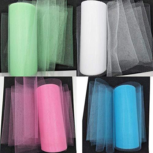 4 Rollen Tüll Dekostoff Tüllband Tischläufer Tischband Tüllnetz für Hochzeit Party Bankett Deko Handwerk 15cm x 22.5m pro Rolle in Pink Blau Weiß Grün